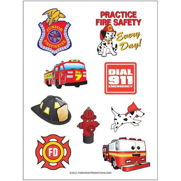Fire Safety Tattoo Sheet, Stock