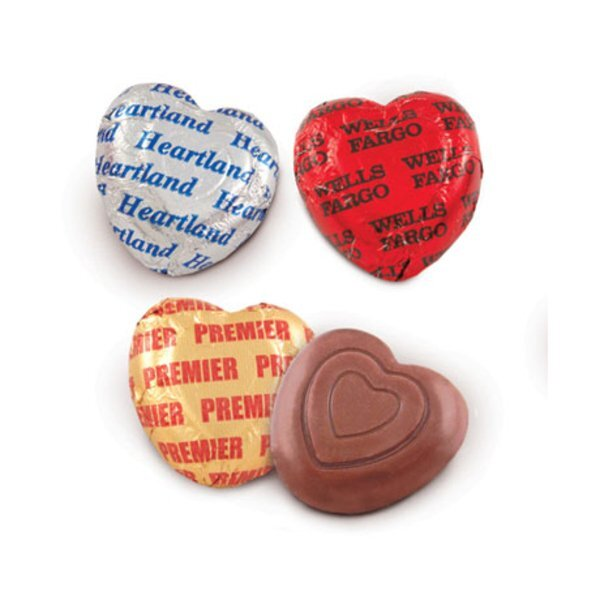 """Foil Wrapped Belgian Chocolate Heart, 1-1/4"""""""