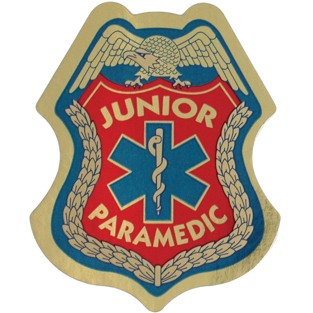Junior Paramedic Foil Sticker Badge, Stock
