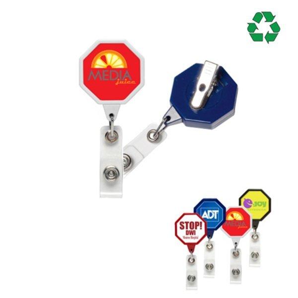 Jumbo Octagon Retractable Badgeholder, Aligator Clip