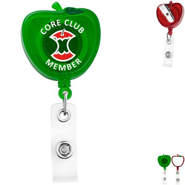 Jumbo Apple Shape Retractable Badgeholder, Alligator Clip