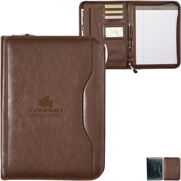 Deluxe Executive Vintage Leather Zippered Padfolio