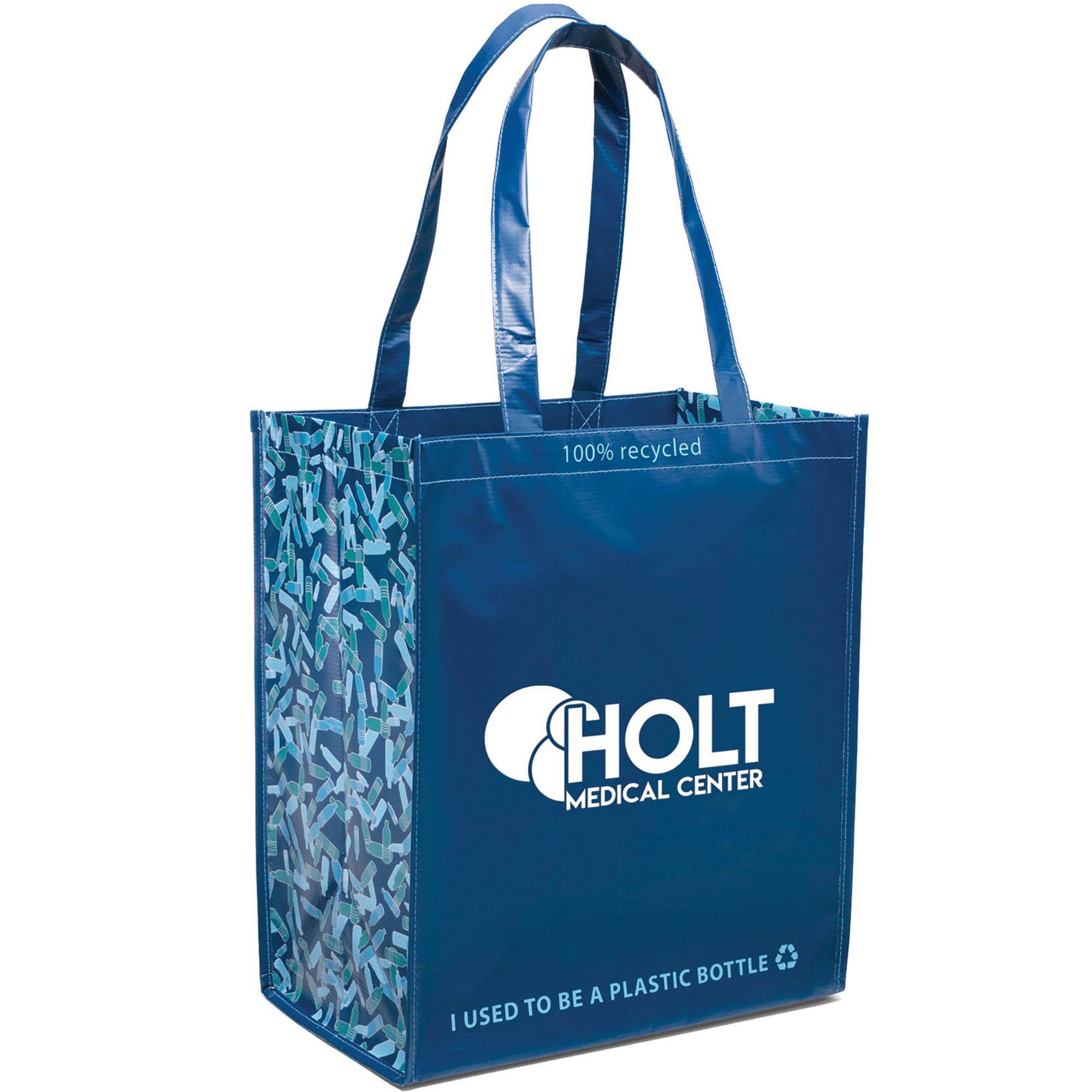 Laminated 100% Recycled Shopper, Caribbean Blue Design
