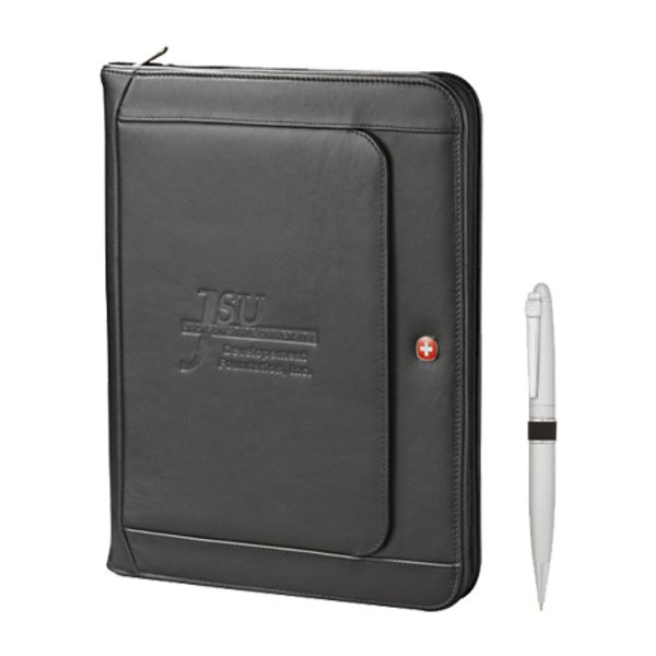 Wenger® Executive Leather Zippered Padfolio Bundle Set