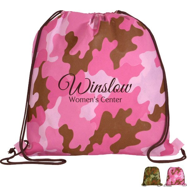 Camo Non-Woven Drawstring Backpack