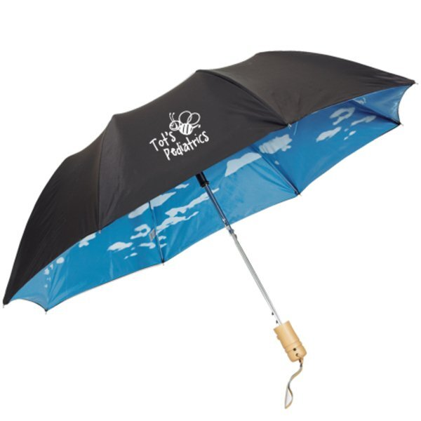 "Clouds Auto Open Folding Umbrella, 43"" Arc"