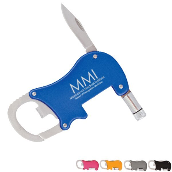 Bottle Opener Carabiner with Flashlight & Knife