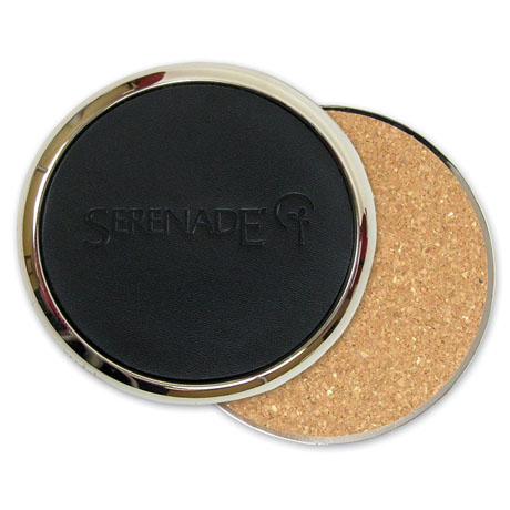 Brass and Top Grain Leather Coaster