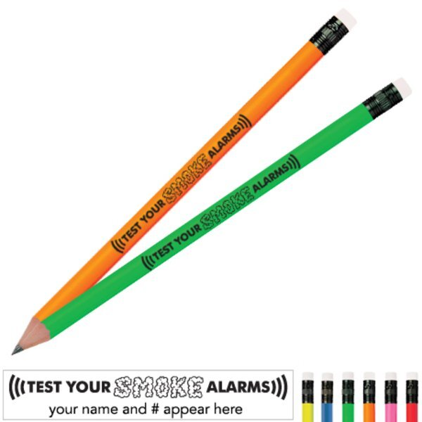Test Smoke Alarms Neon Pencil