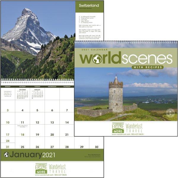 World Scenes with Recipe Wall Calendar