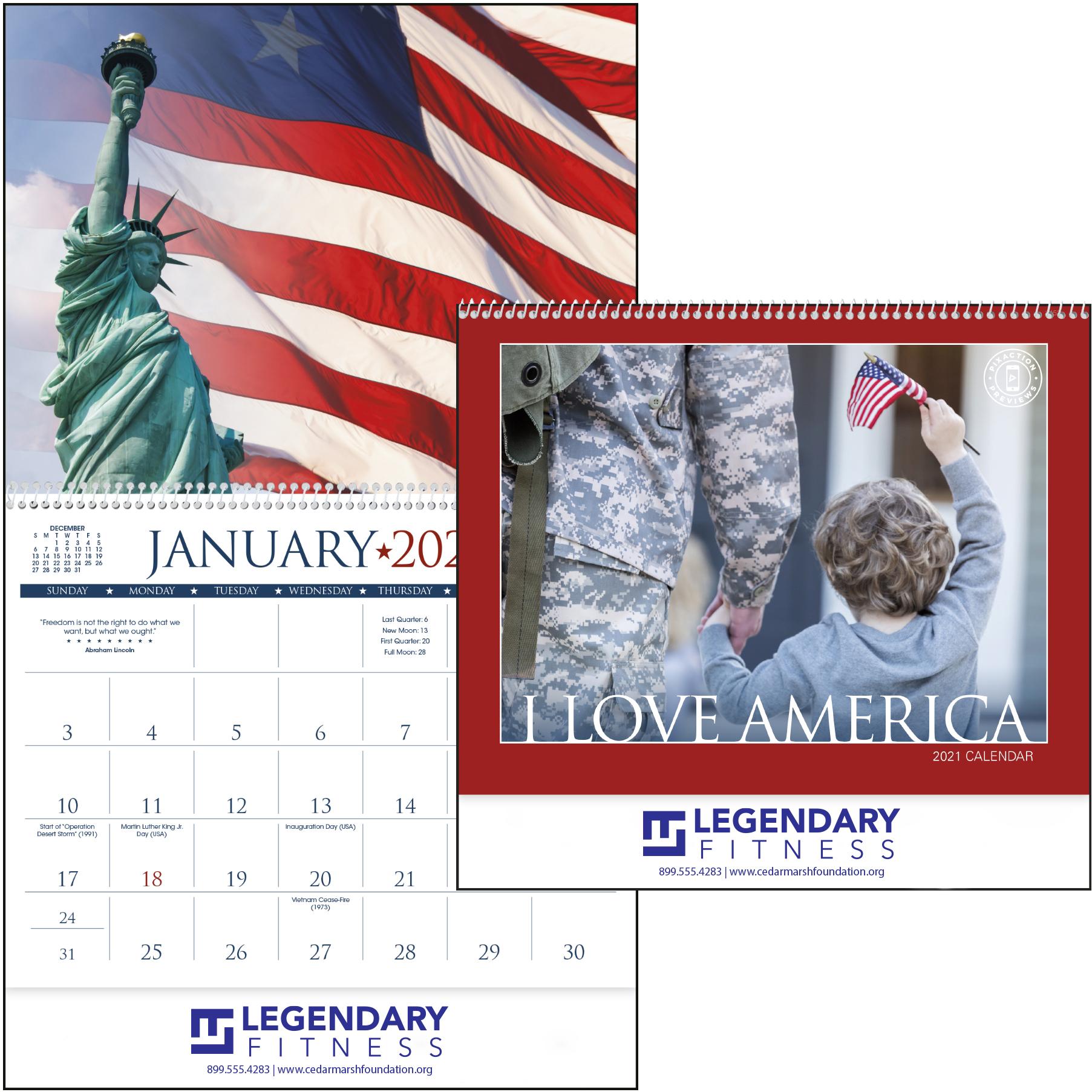 I Love America Wall Calendar