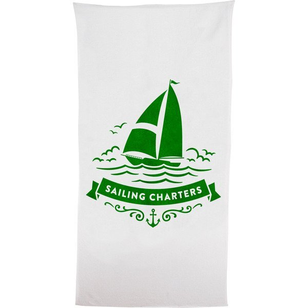 Classic White Medium Weight Beach Towel, 14 lbs.
