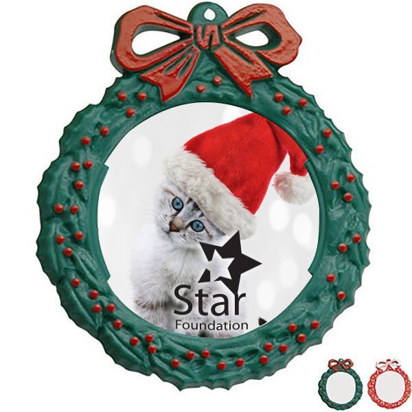 Snap-In Photo Wreath Ornament, 5""