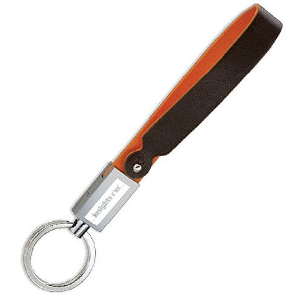 Two-Tone Leather Strap Key Holder