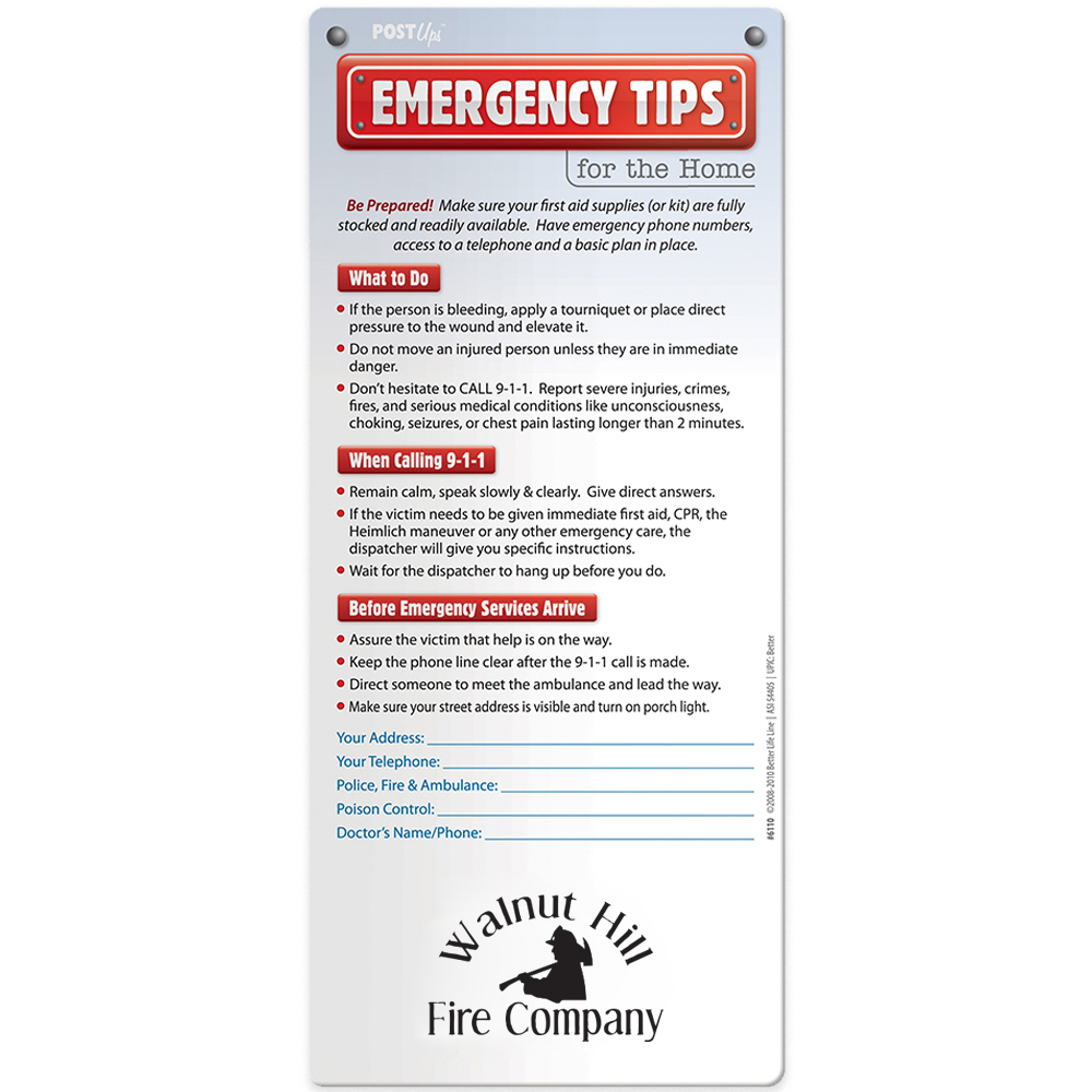 Emergency Tips for the Home Post Ups™