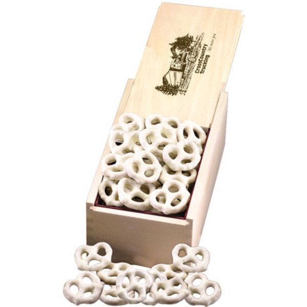 White Chocolate Pretzels in Wooden Collector's Box
