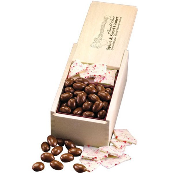 Peppermint Bark & Milk Chocolate Almonds in Wooden Collector's Box