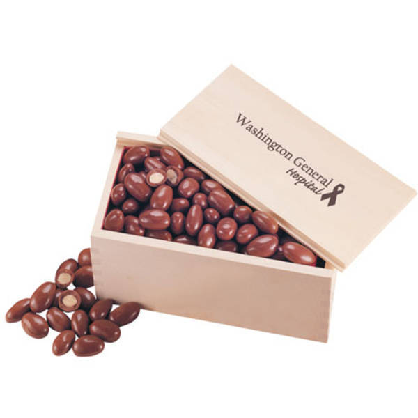 Milk Chocolate Almonds in Wooden Collector's Box