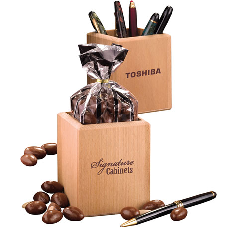 Milk Chocolate Almonds in Hardwood Pen & Pencil Cup
