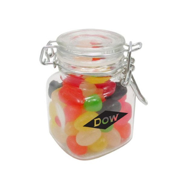 Mini Hinged Top Glass Jar w/ Jelly Beans