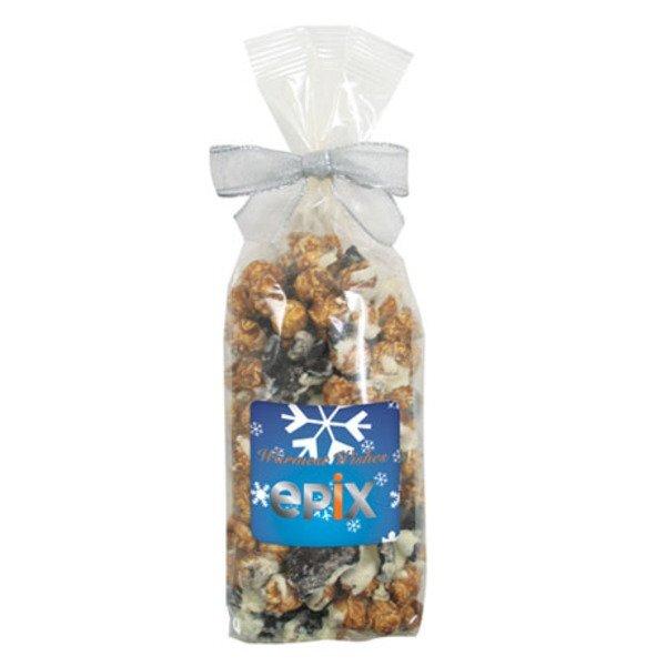 White & Dark Chocolate Swirl Popcorn in Elegant Bow Bag