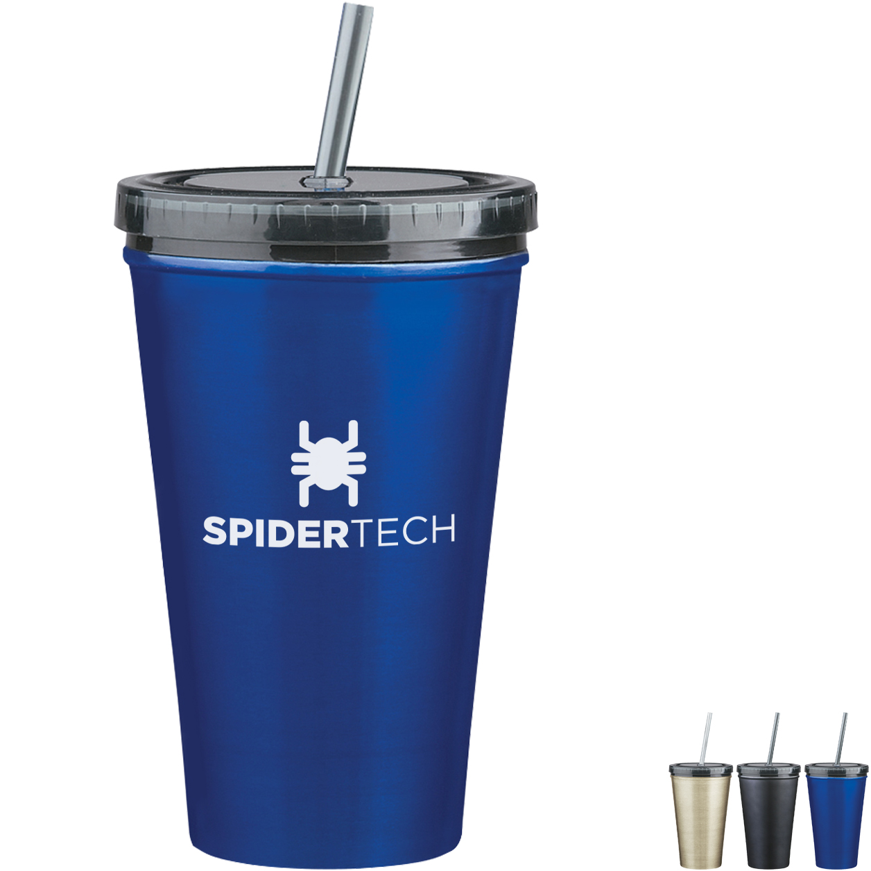 Double Wall Stainless Steel Tumbler w/ Straw, 16oz