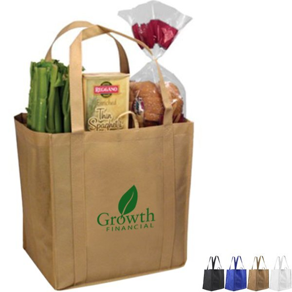 NW Tundra Non-Woven Grocery Tote with Plastic Bottom Insert