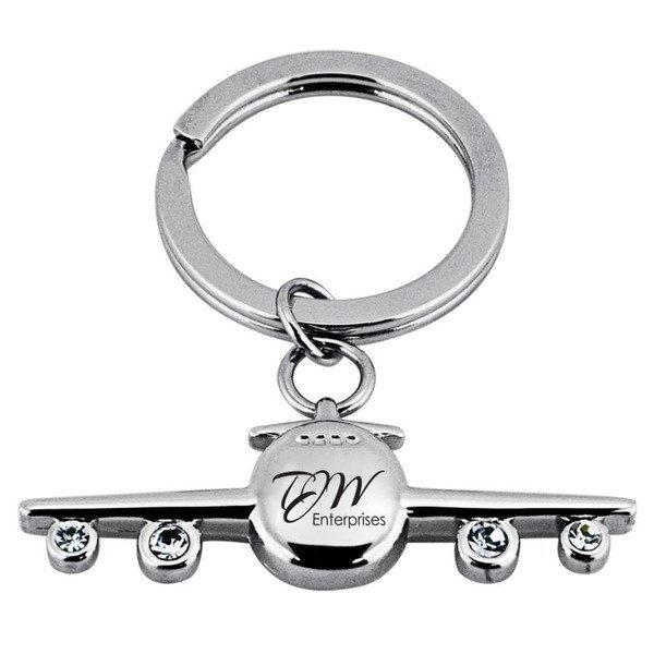 Jeweled Airplane Key Chain