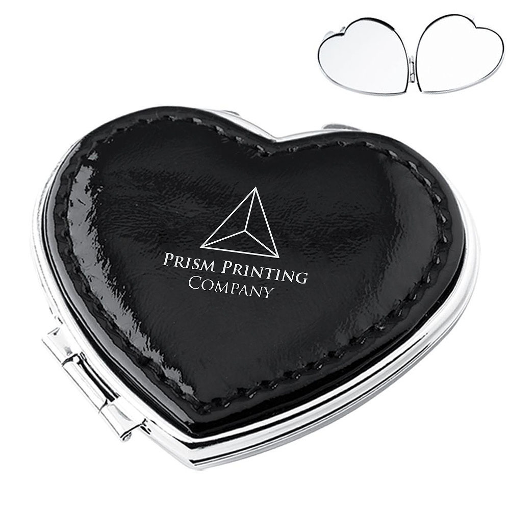 Leather Heart Compact Mirror