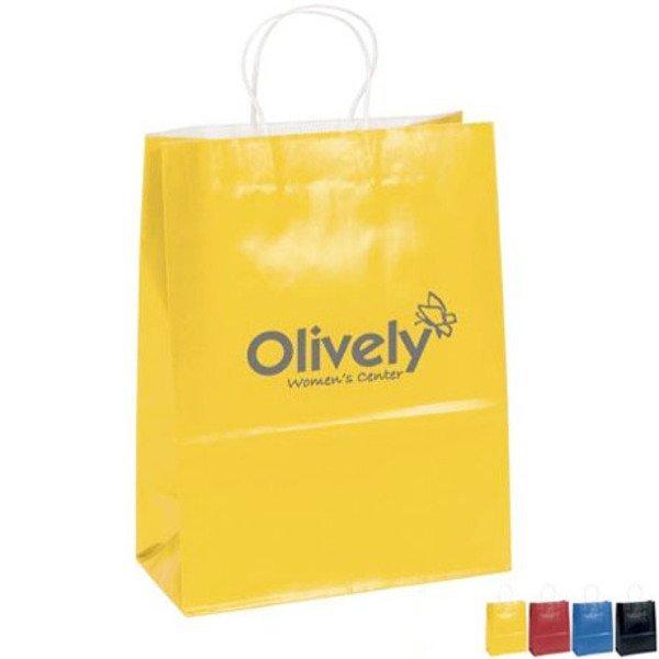 "Gloss Finish Paper Shopper, 10"" x 13"", Colors"