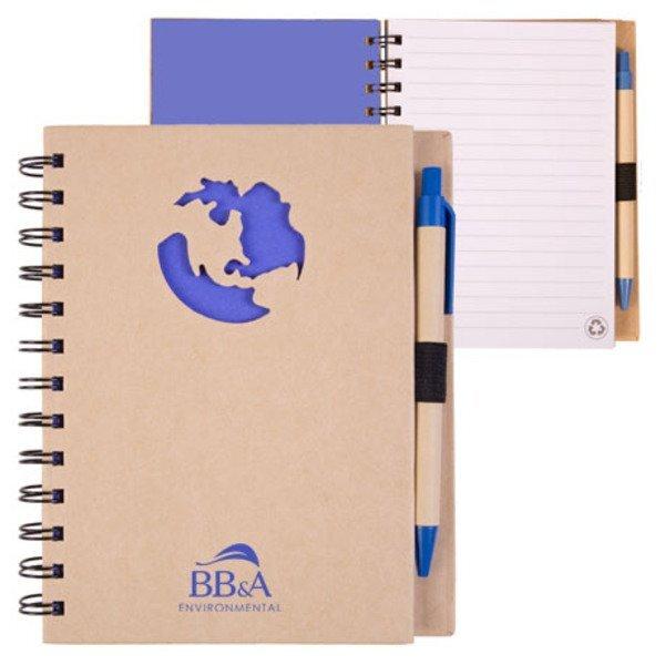 "Recycled Die Cut Globe Notebook, 5-7/8"" x 7"""