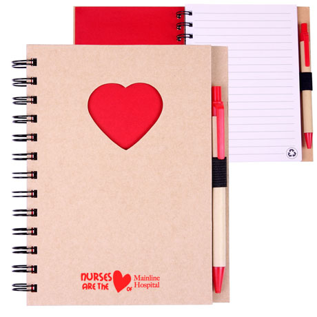 Recycled Die Cut Heart Notebook, 5-7/8