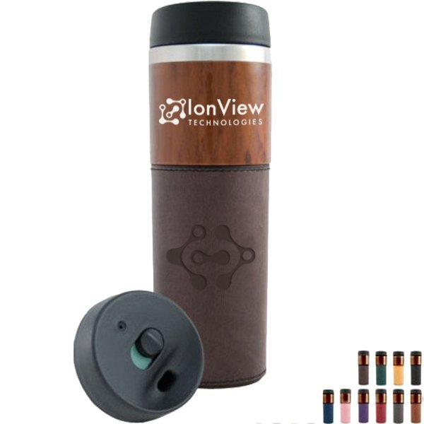 Woodgrain Accent Stainless Steel Tumbler, 14oz., BPA Free
