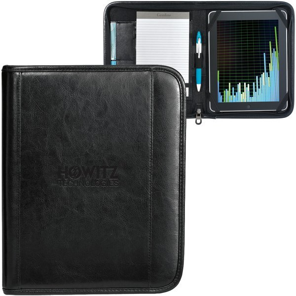 Deluxe Leather Zippered Wired-E Padfolio, iPad Compatible