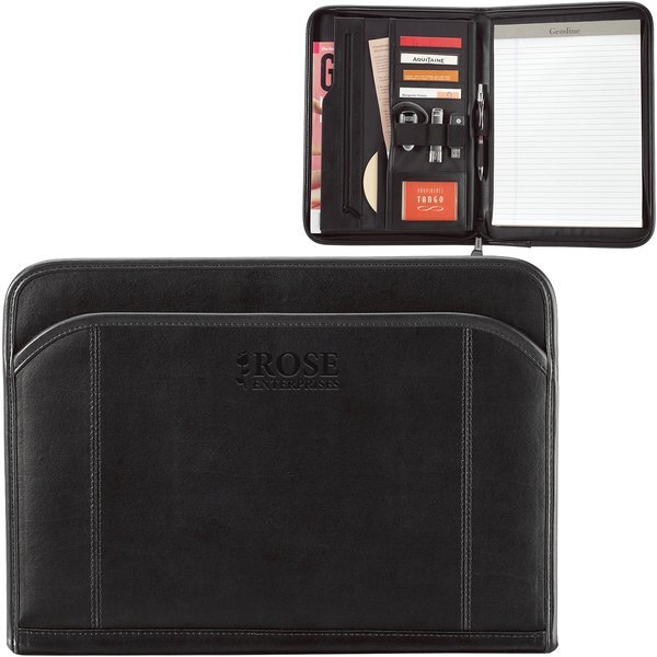 Global Leather Zippered Padfolio