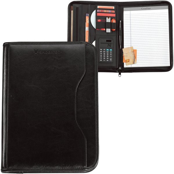 Vanguard Leather Zippered Padfolio with Calculator