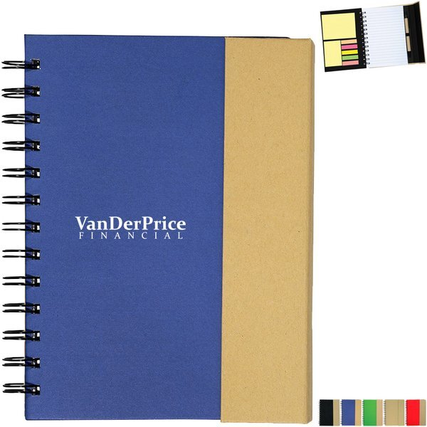 """Recycled Magnetic Journal Book w/ Sticky Notes, 5-3/4"""" x 7-1/4"""""""