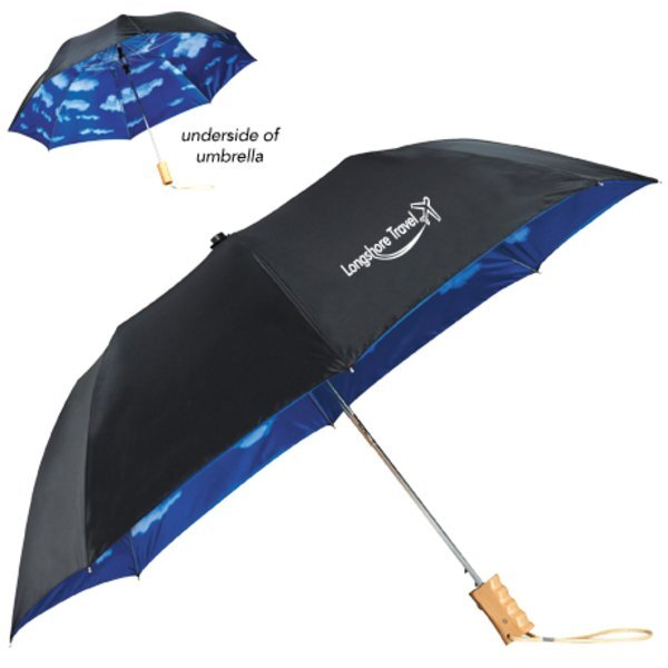 "Blue Skies Auto Folding Umbrella, 46"" Arc"