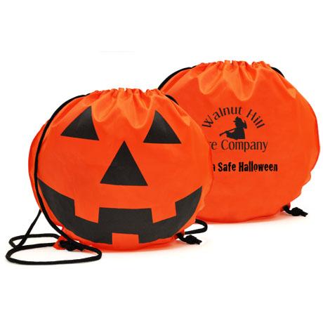 Pumpkin 210D Polyester Drawstring Backpack