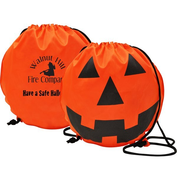 Pumpkin Polyester Drawstring Backpack