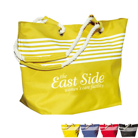 Riviera Rope Handle Striped Polycanvas Tote