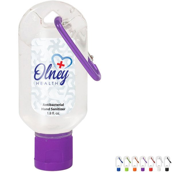 Antibacterial Hand Sanitizer Gel with Carabiner, 1.8oz.
