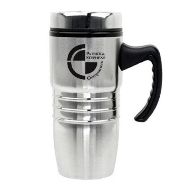 Stainless Polished Rings Tumbler, 18oz.