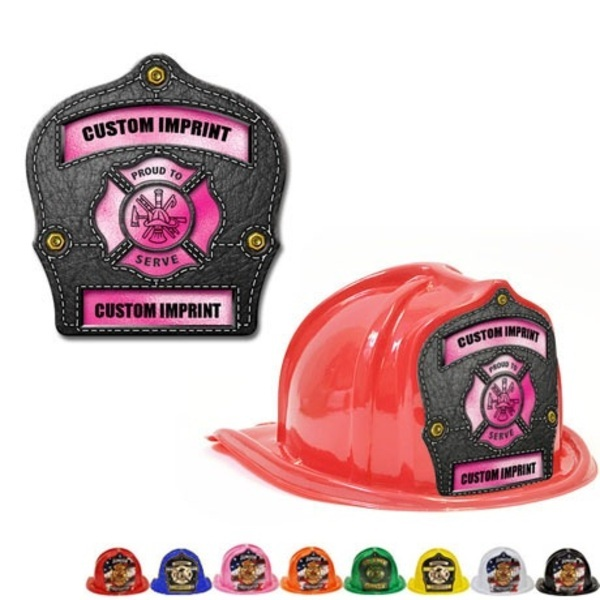 Chief's Choice Kid's Firefighter Hat, Leather & Pink Design