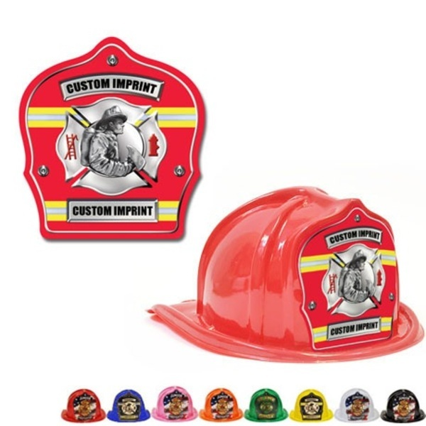Chief's Choice Kid's Firefighter Hat,  Fireman Design w/ Red Background
