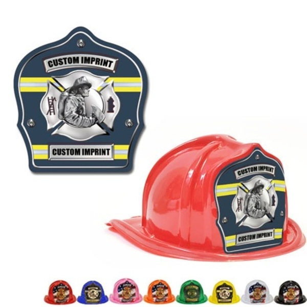 Chief's Choice Kid's Firefighter Hat, Fireman Design w/ Blue Background