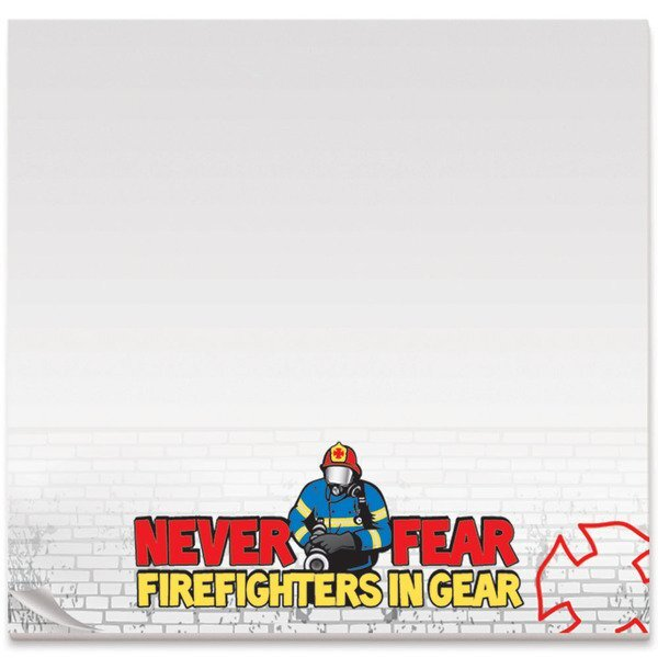 "BIC® Adhesive 25 Sheet Notepad, Never Fear Firefighters in Gear, 3"" x 3"""