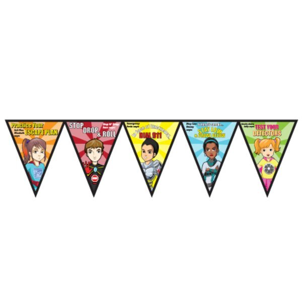 Fire Prevention Full Color Poly Pennant Banner- Closeout, On Sale!