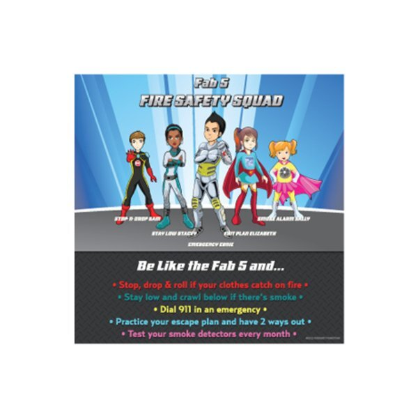 Fab 5 Fire Safety Squad Puzzle Magnet, Stock.- Closeout, On Sale!