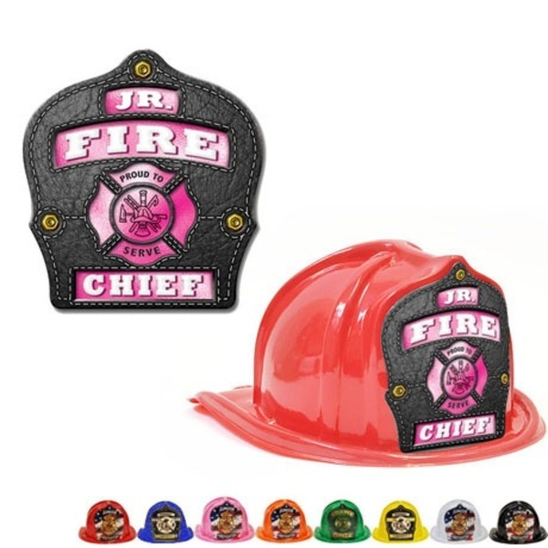 Chief's Choice Kid's Firefighter Hat, Leather & Pink Design, Stock